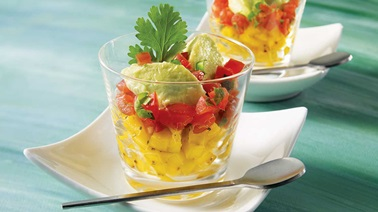 Avocado sorbet with tomato tartare