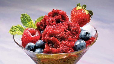 Berry and red wine sorbet