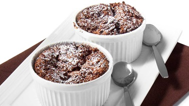 Chocolate and pear soufflés