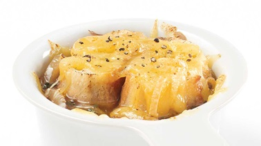 French onion soup au gratin with Grondines cheese