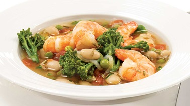 Broccolini, shrimp and fennel seed soup