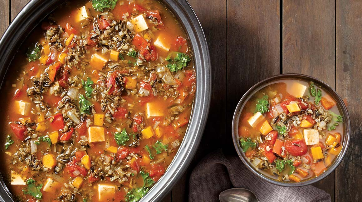 Slow cooker vegetable, wild rice, and tofu soup
