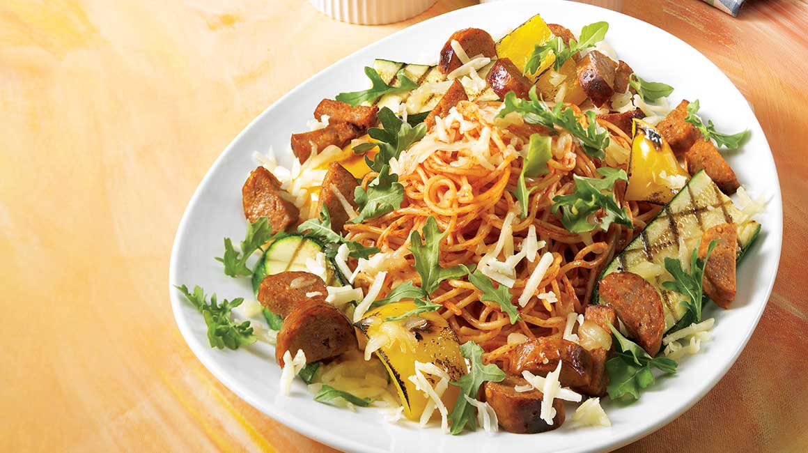 Spaghettini with hot sausage and grilled vegetables