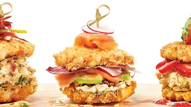 Smoked salmon and goat cheese sushi burger from Geneviève Everell
