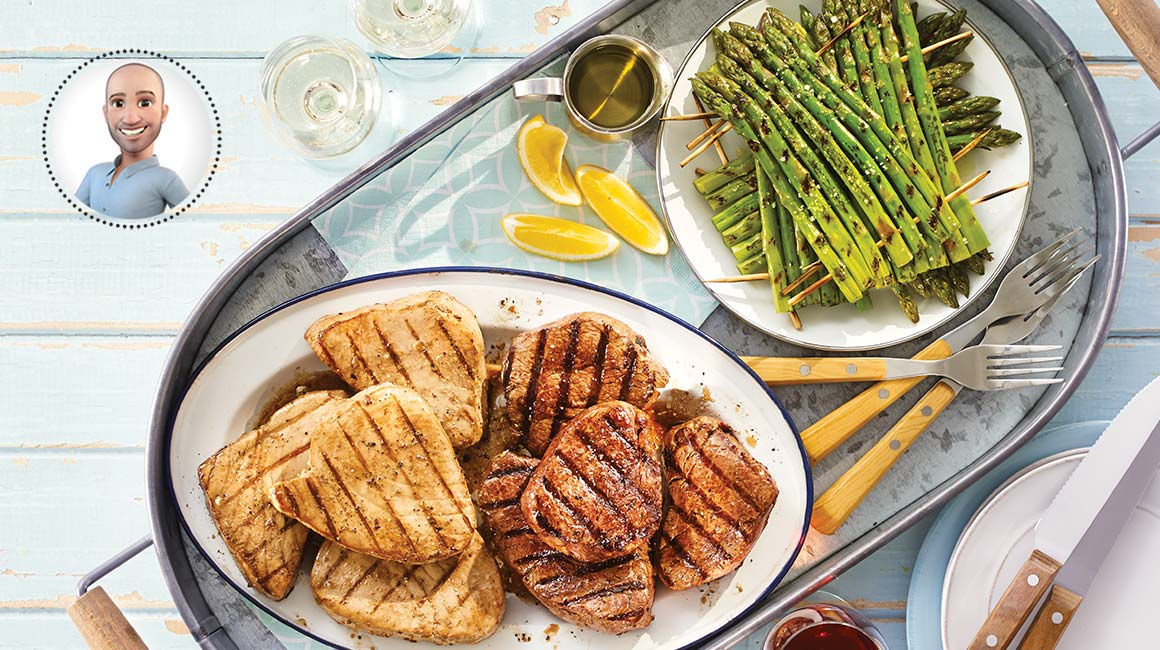 Grilled asian tuna and filet mignon