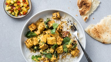 Indian-Style Tempeh with Mango and Red Pepper Salad