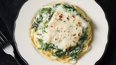 Flounder in Creamy Spinach Sauce with Linguine
