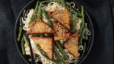 Maple Tofu with Asian-Style Noodles & Sesame Beans