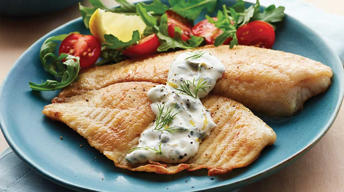 Tilapia with creamy dill sauce