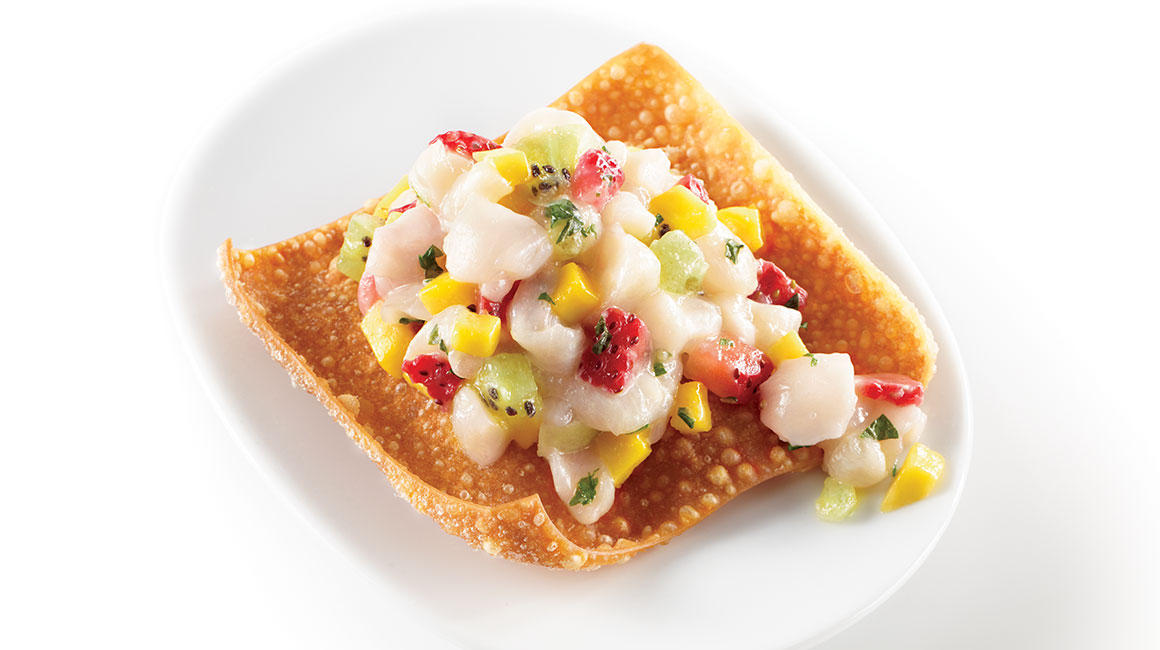 Tuiles with scallop, mango and strawberry tartare