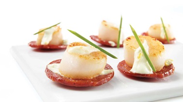 Chorizo and scallop tapas