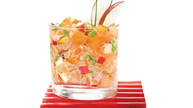 Two-salmon tartare with pine nuts and red apple from Geveviève Everell