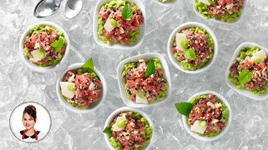 Refreshing beef tartare on guacamole from Geneviève Everell