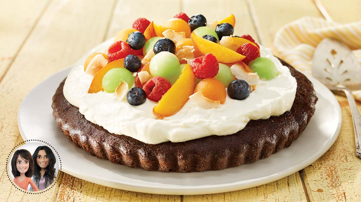 Summer fruit brownie pie