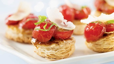 Caramelized tomato tartlets