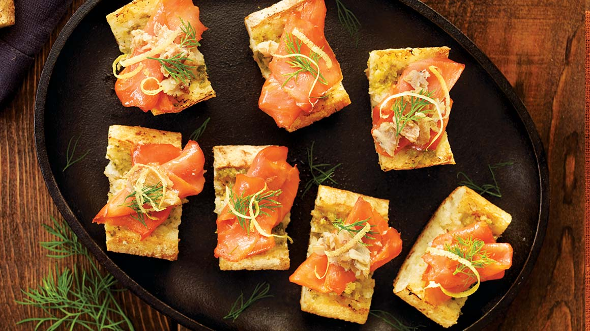 Smoked salmon and herring on toasted baguette