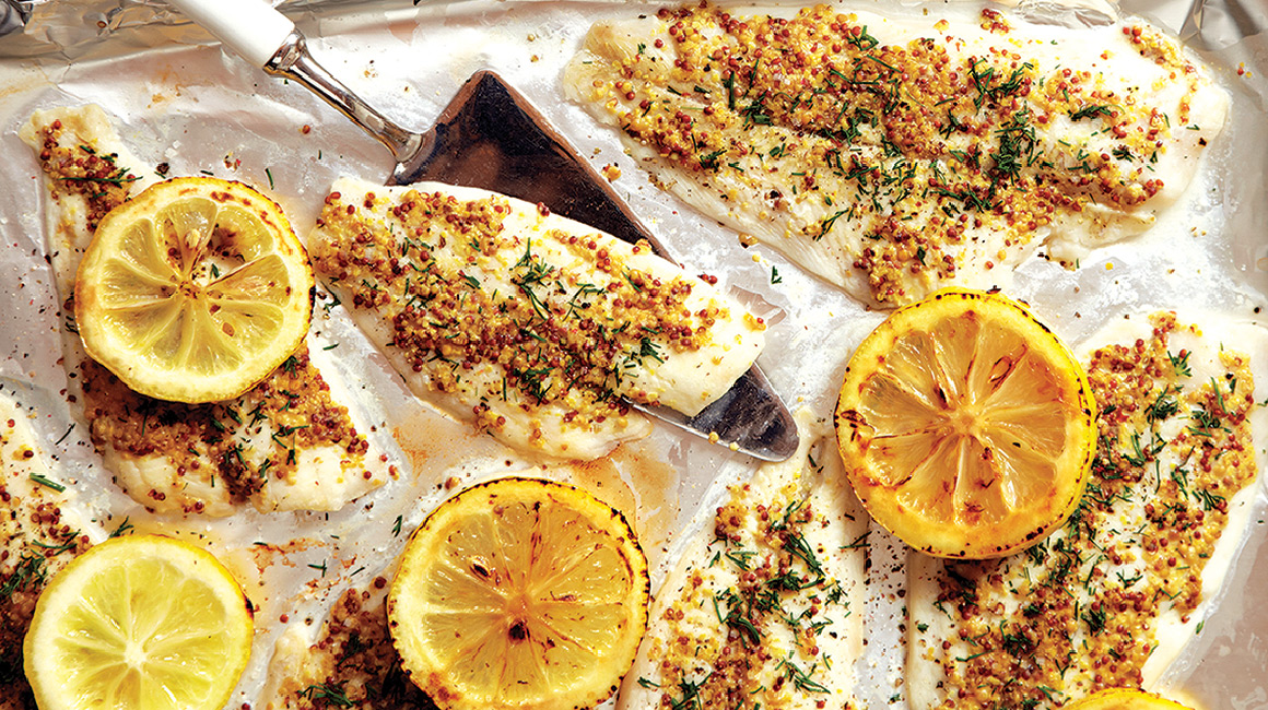 Broiled Mustard Crusted Tilapia with Charred Lemons