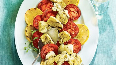 Grilled tomatoes, artichokes, and lemons