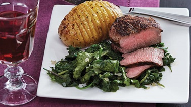 Pan-fried tournedos with hasselback potatoes & kale
