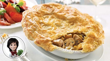 Leek, mushroom, and turkey pie from Josée di Stasio