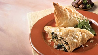 Greek-Style Puff Pastry Triangles with Feta Cheese, Spinach and Dates