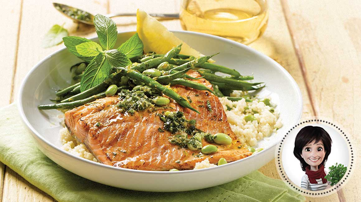 Barbecued trout with mint pesto and green vegetables from Josée di Stasio