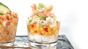 Shrimp tartare verrines with apple and fennel