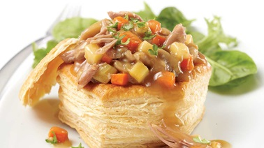 Duck confit puff pastry shells