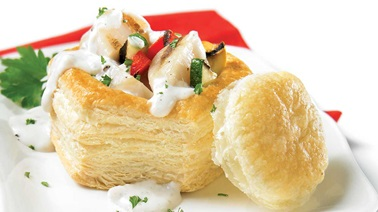 Scallop and vegetable vol-au-vent