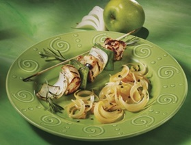 Caramelized onion papillote with apple