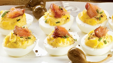Devilled eggs with hot-smoked salmon