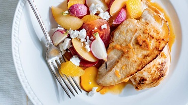 Orange Chicken with Roasted Beets and Radishes by Ricardo