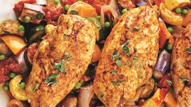 Mediterranean-rubbed chicken with spring ratatouille