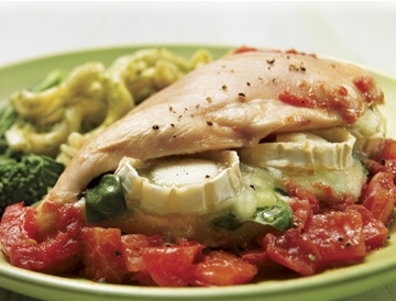 Goat Cheese-Stuffed Chicken Over Tomatoes