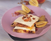 Spicy quesadillas with peaches and brie