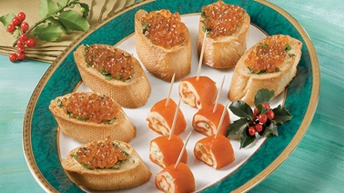 Smoked Salmon and Caviar Rolls