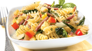 Rotini with sausage, pineapple, and spinach