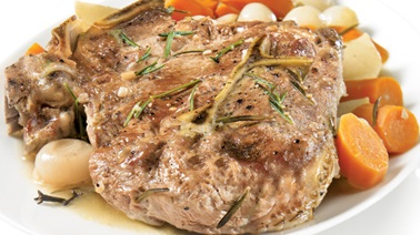 Rosemary veal roast and vegetables