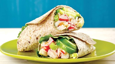 Spicy seafood salad wrap