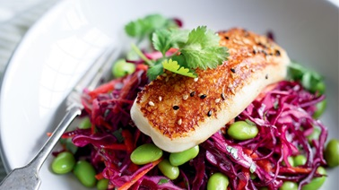 Cabbage, Edamame and Grilled Halloumi Salad from Ricardo