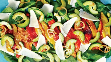 Roasted peppers & spinach salad with pesto vinaigrette