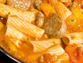 Braised Toulouse Sausages with Fall Vegetables