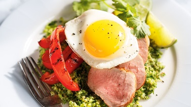Broccoli tabbouleh with grilled bell peppers and pork tenderloin from Ricardo