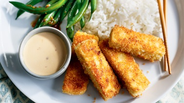 Crispy Tofu with Wafu Green Beans from Ricardo