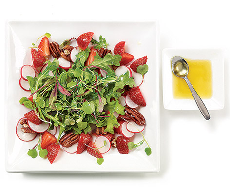 Microgreens and strawberries salad