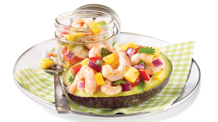 shrimps and avocado